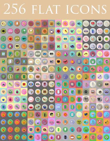 conjunto diverso de iconos planos vector illustration