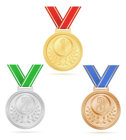 Medalla ganadora deporte oro plata bronce stock vector ilustración