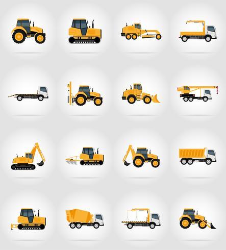 Transporte de automóviles para reparación y construcción iconos planos vector ilustración