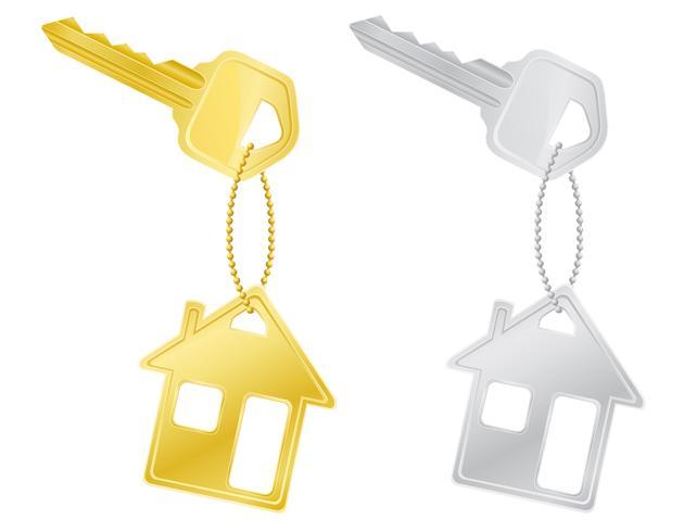 house keys door lock vector illustration