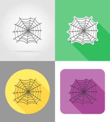 spider wed flat icons vector illustration