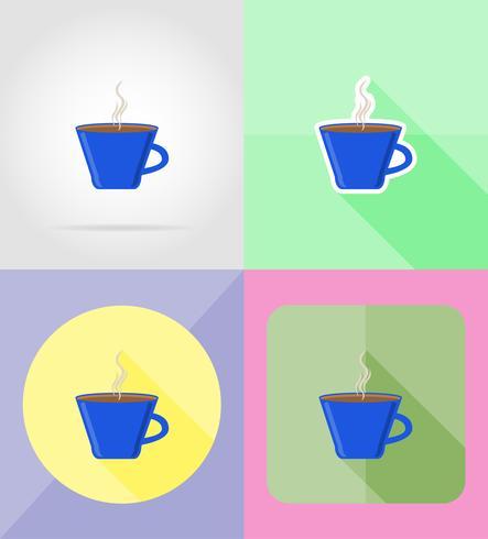 beker dienst plat pictogrammen vector illustratie