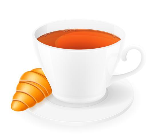 xícara de porcelana e croissant vector illustration