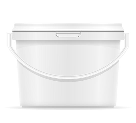 Cubo de plástico blanco para la ilustración de vector de pintura