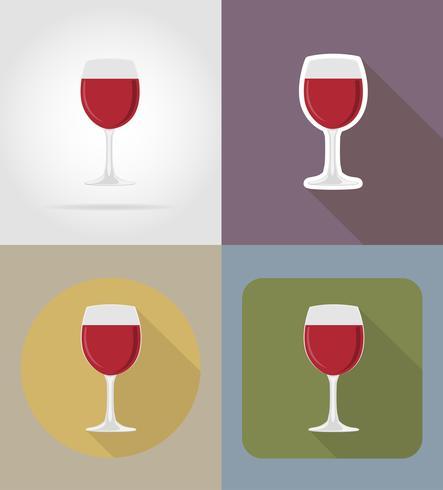 vin glas föremål och utrustning för mat vektor illustrationen