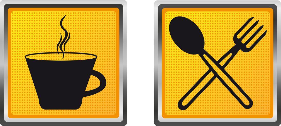 pictogrammen beker vork en lepel voor ontwerp vectorillustratie