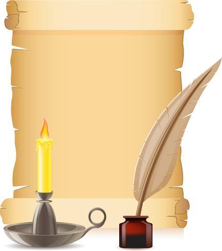 Papel antiguo conflagrante vela y pluma con tintas.