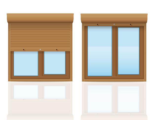 brown plastic window with rolling shutters vector illustration