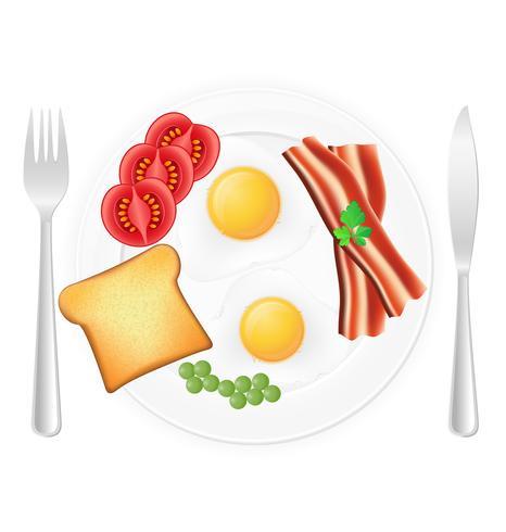 Huevos fritos con tocino tostado y verduras en una ilustración de vector de placa