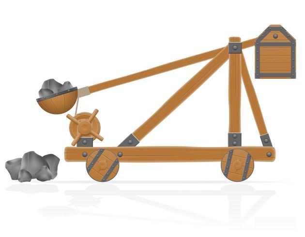 Catapulta de madera vieja cargada piedras vector illustration