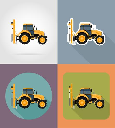 trekker plat pictogrammen vector illustratie