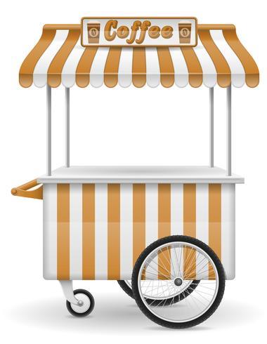 ilustração em vetor café comida carrinho rua
