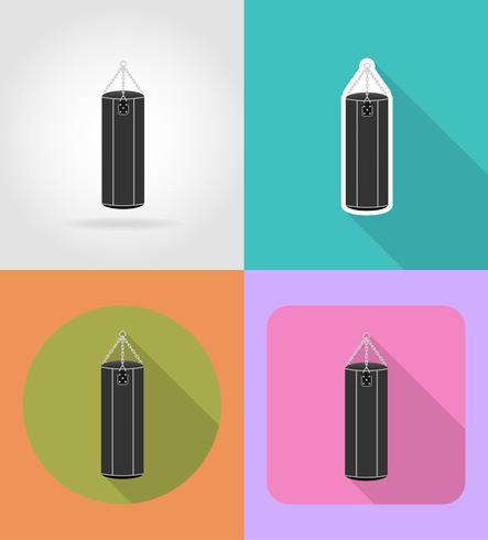 saco de pancadas para boxe ilustração em vetor ícones plana