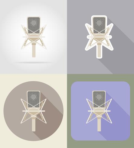 viejo micrófono retro iconos planos vector illustration