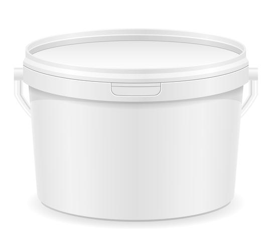 secchio di plastica bianca per illustrazione vettoriale di vernice