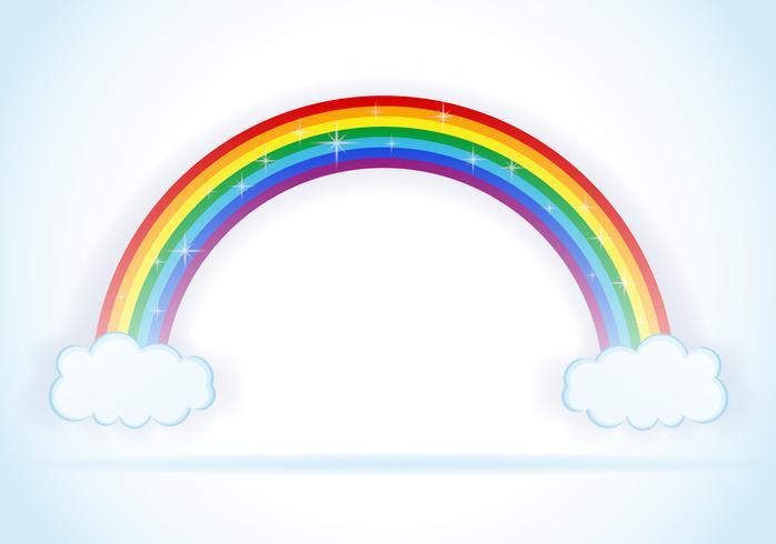 abstrato arco-íris com ilustração vetorial de nuvens