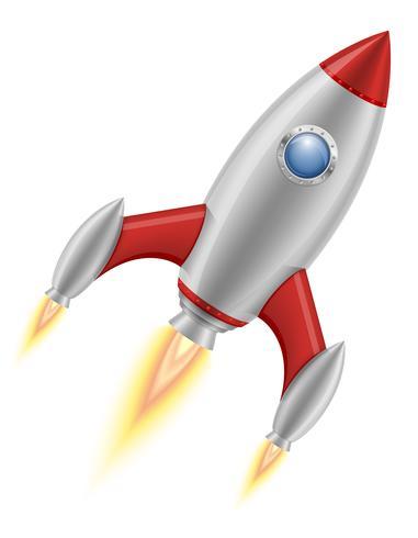 ruimteraket retro ruimteschip vectorillustratie