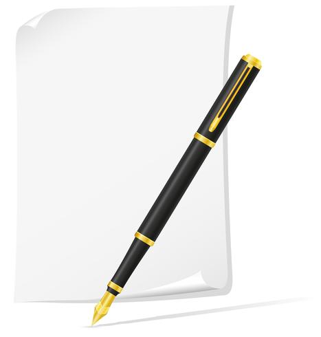 bläck penna och papper vektor illustration