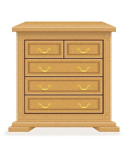 la vecchia retro illustrazione di vettore del cassettone della mobilia di legno