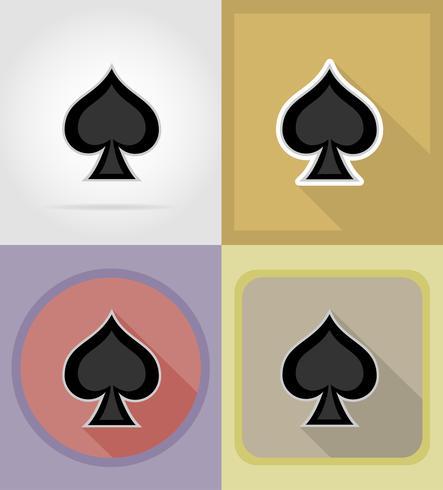 bêche carte costume casino plat icônes vector illustration