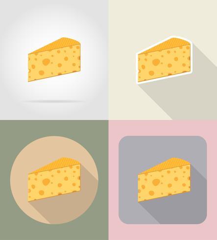 pezzo di formaggio icone cibo e oggetti icone piatte illustrazione vettoriale
