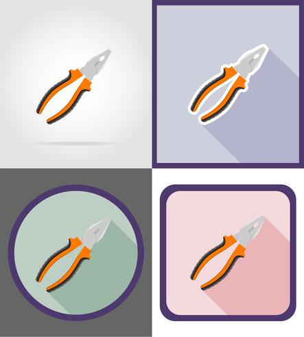 pliers repair and building tools flat icons vector illustration