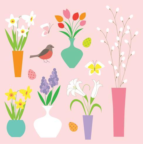 påskblommor fåglar vaser och pussy willow grafik