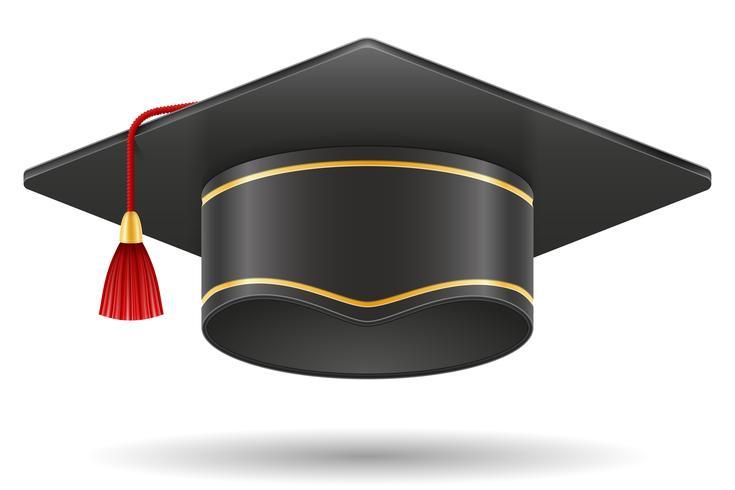academic graduation mortarboard square cap vector illustration