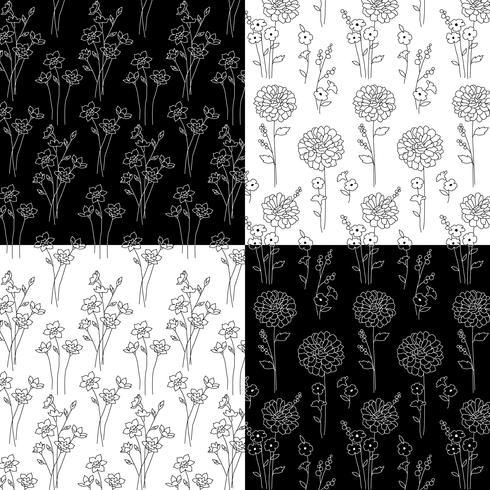 black and white hand drawn botanical patterns