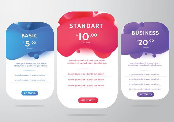 Tabla de precios de diseño vectorial