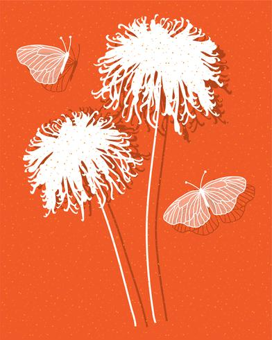 chrysanthemums on orange vector graphic placement