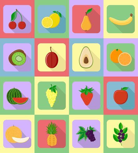 vruchten platte set pictogrammen met de schaduw vectorillustratie vector