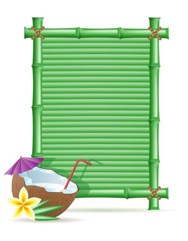 bamboo frame and coconut vector illustration