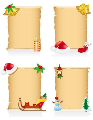 uppsättning vintage jul blank bläddra vektor illustration