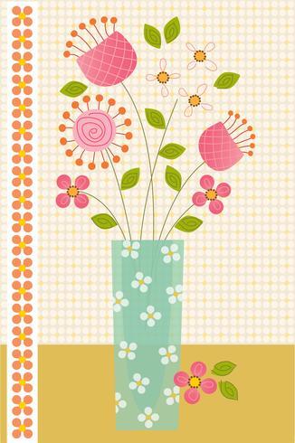 flores em colocação de gráfico vetorial de vaso azul