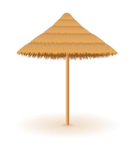 strand paraply gjord av halm och reed för nyans vektor illustration