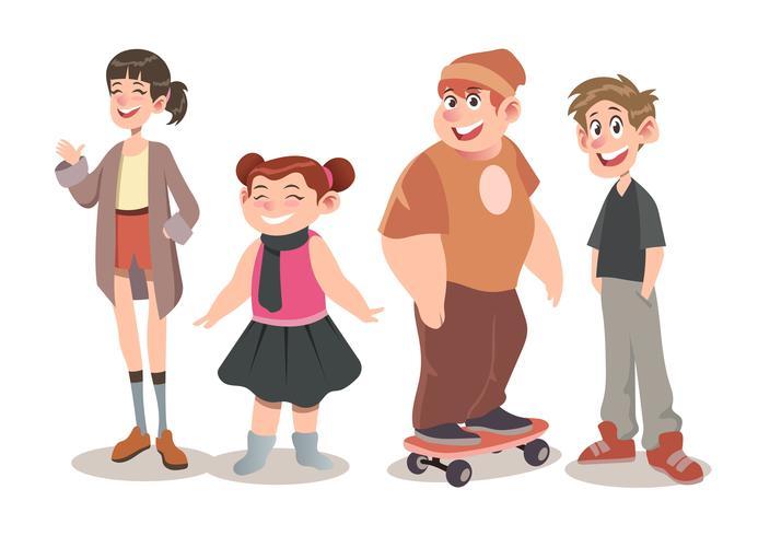 Conceito de conjunto de caracteres de crianças