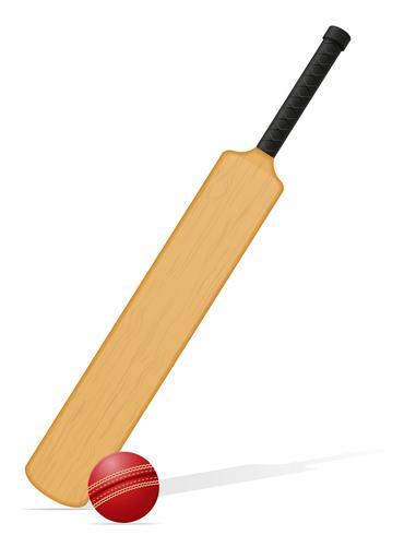 taco de críquete e ilustração vetorial de bola