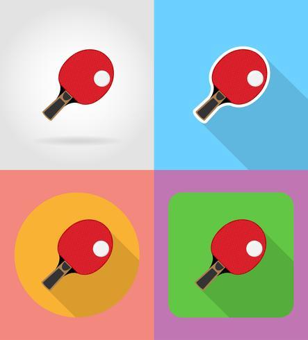 La raqueta y la bola para los iconos planos del ping-pong ping-pong vector la ilustración