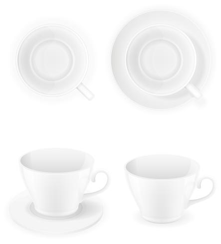 porcelain cup top view and a side vector illustration isolated on white background
