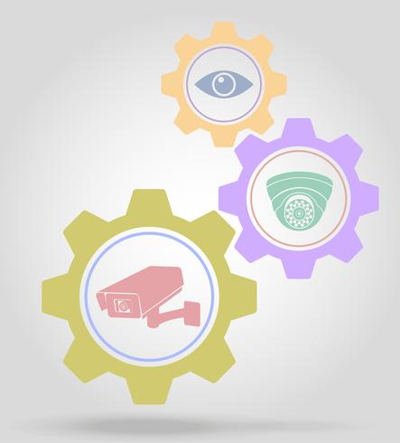video surveillance gear mechanism concept vector illustration
