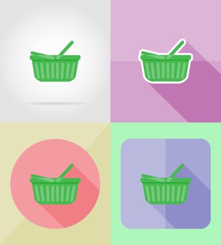 shopping icone piane illustrazione vettoriale