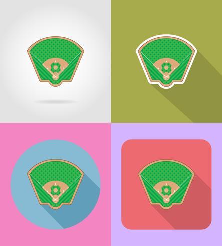 iconos planos del campo de béisbol vector illustratio