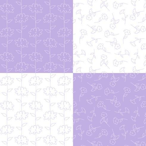 Lavendel und weiße botanische Blumenmuster