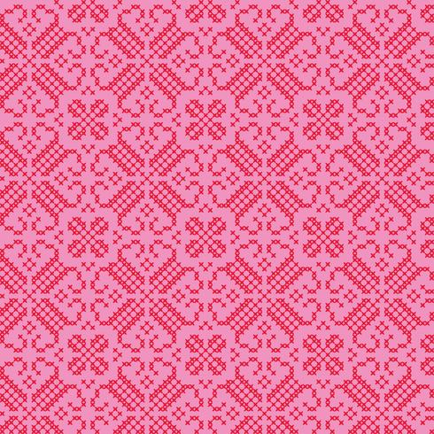 embroidered nordic red pink pattern