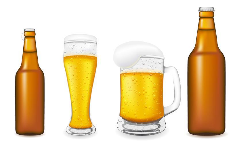 Cerveza en vidrio y botella ilustración vectorial vector
