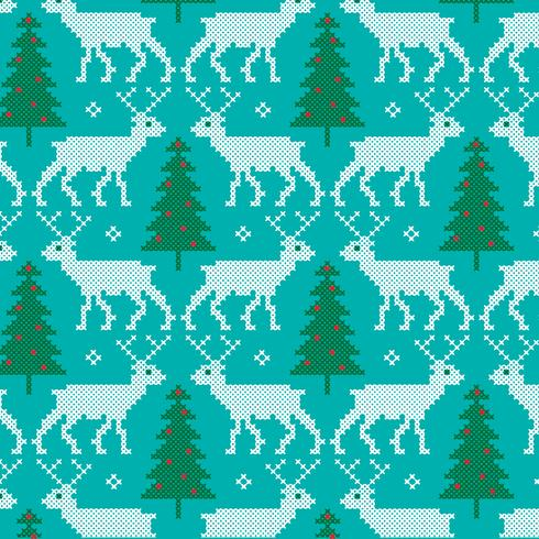 embroidered reindeer and trees pattern