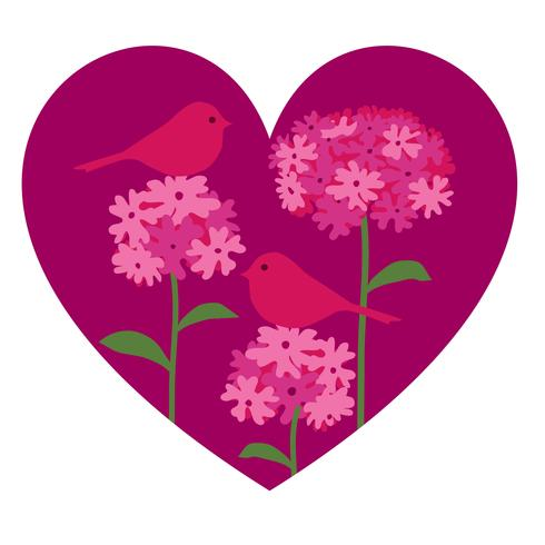 coração de botânica de flor de pássaro colocação de gráfico vetorial