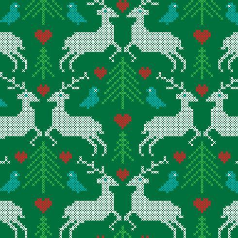 embroidered prancing reindeer pattern
