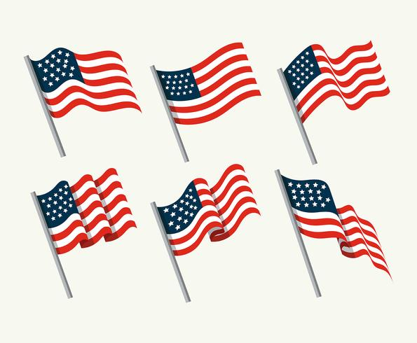American Flag Set vector